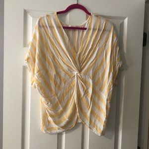 Umgee yellow & white stripe crop top